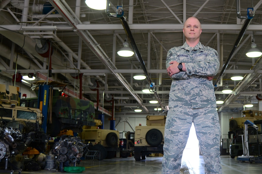 Staff Sgt. Elliott Packingham, 341st Logistics Readiness Squadron NCO in charge of fleet management and analysis, poses for a photo, May 8, 2018, at Malmstrom Air Force Base, Mont.