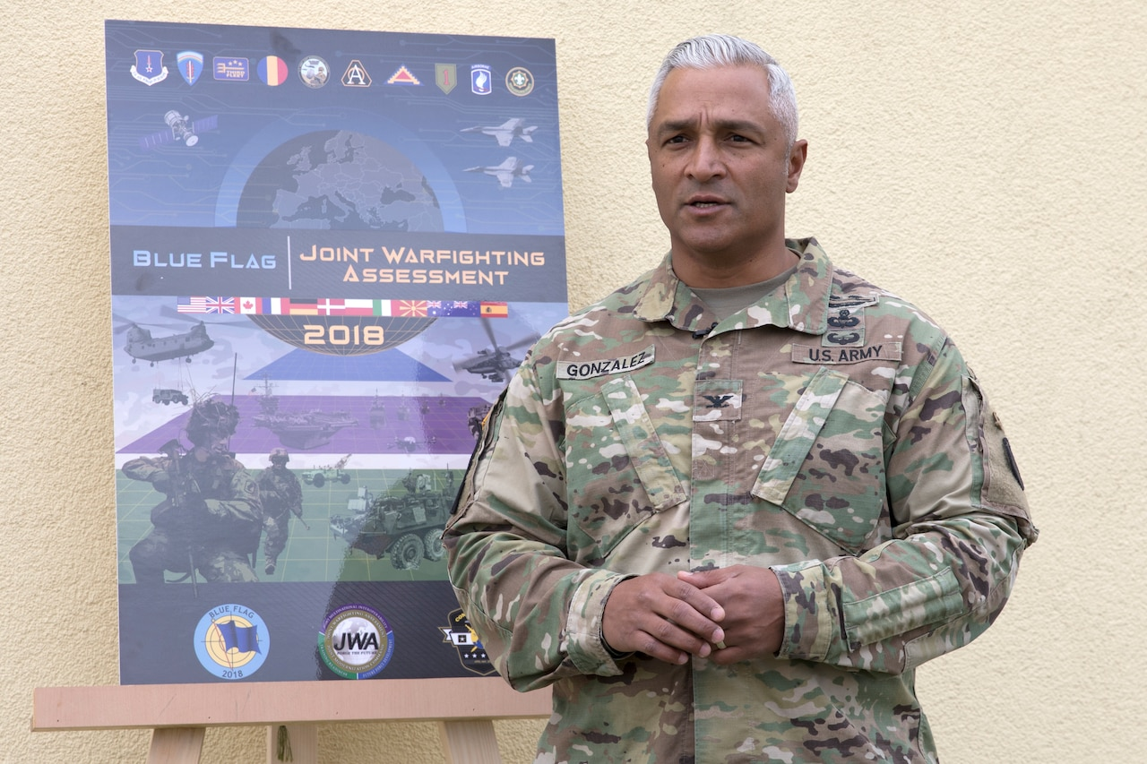"""Army Col. Raul E. Gonzalez, the integration and assessments division chief stationed at Fort Bliss, Texas,  teaches """"Hard Leadership."""""""