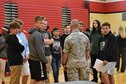 655th Intelligence, Surveillance and Reconnaissance Group reservist Major Stamm talks with students from Weisborn Jr. High, Huber Heights, Ohio, during the school's career day fair May 8, 2018.