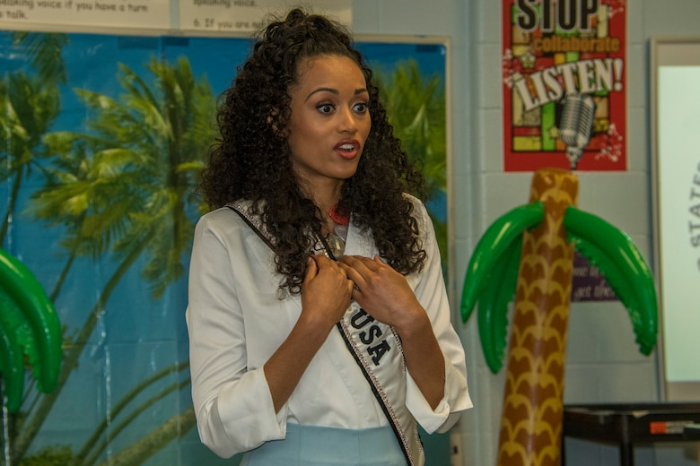 Kara McCullough, Miss USA 2017, speaks to students at STARBASE Louisiana on Barksdale Air Force Base, Louisiana, May 15, 2018.