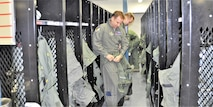 39th FTS Cobras get ready for flight by donning their anti-G suits. (U.S. Air Force photo by Janis El Shabazz)