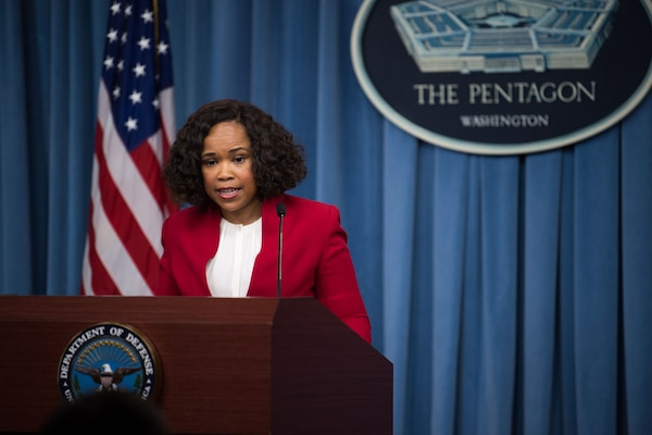 Chief Pentagon Spokesperson Dana White briefs reporters  at the Pentagon, May 17, 2018. DoD photo by Army Sgt. Amber I. Smith