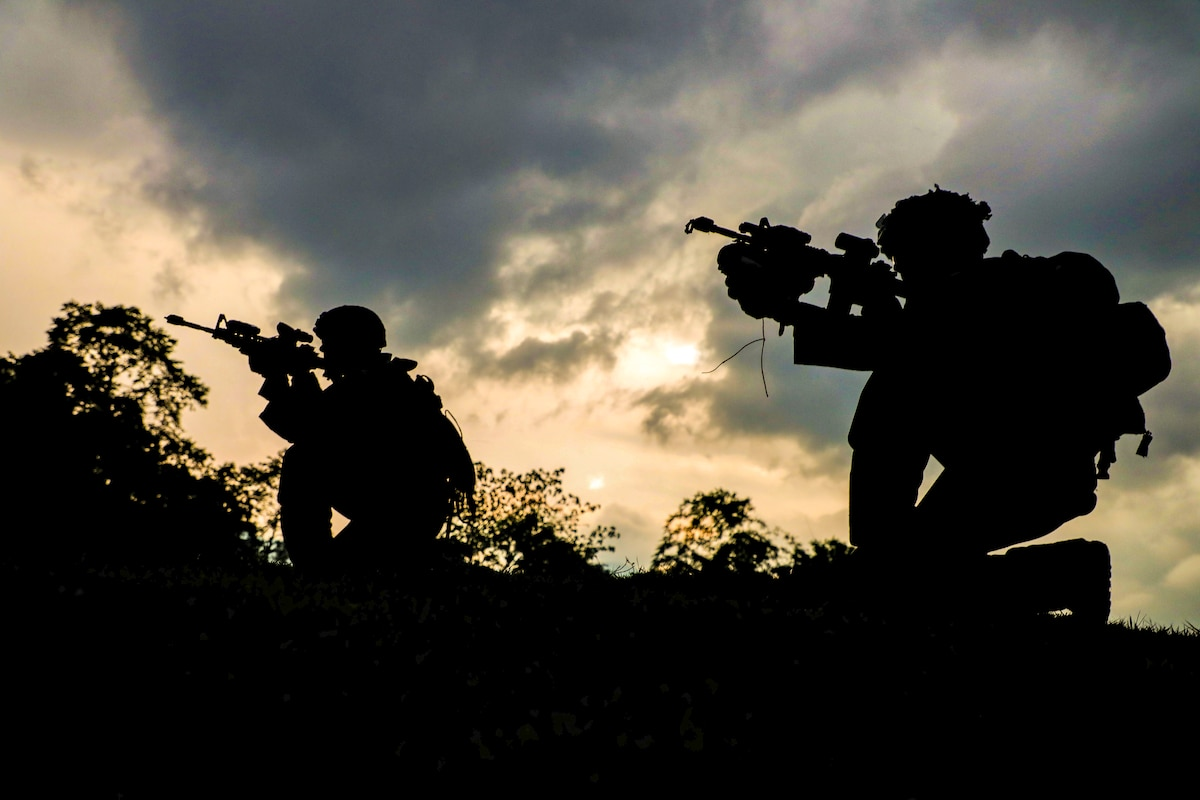 Two soldiers, shown in silhouette, kneel and point weapons amid foliage outside.