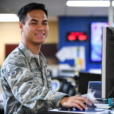 Airman 1st Class Vincent Duller poses for a photo April 30, 2018, at his work station at Hill Air Force Base, Utah. He was voted a Top 3 Superior Performer. (U.S. Air Force photo by R. Nial Bradshaw)