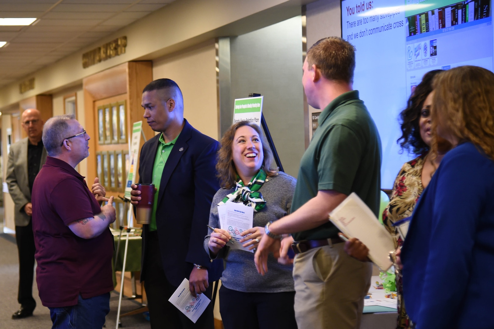 Members of the U.S. Strategic Command Employee Engagement Tiger Team speak with employees on May 9, 2018. The team initiated the Ready Force Rotation Program, which is the first formal program implemented in the command that allows civilians to broaden their work experience on April 1, 2018. U.S. Strategic Command has global responsibilities assigned through the Unified Command Plan that include strategic deterrence, nuclear operations, space operations, joint electromagnetic spectrum operations, global strike, missile defense, and analysis and targeting.