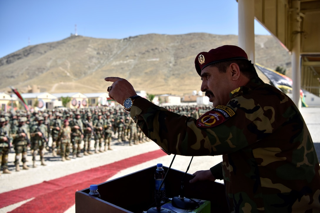 Lt. Gen. Bismillah Waziri, an Afghan National Army corps commander, addresses Afghanistan's newest commandos at a graduation ceremony in Kabul, Afghanistan.
