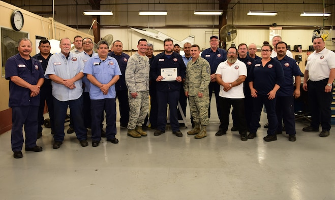 "Ryan Anderson, 47th Maintenance Directorate sheet metal technician, was chosen by wing leadership to be the ""XLer"" of the week, for the week of May 9, 2018, at Laughlin Air Force Base, Texas. The ""XLer"" award, presented by Col. Charlie Velino, 47th Flying Training Wing commander, is given to those who consistently make outstanding contributions to their unit and the Laughlin mission."