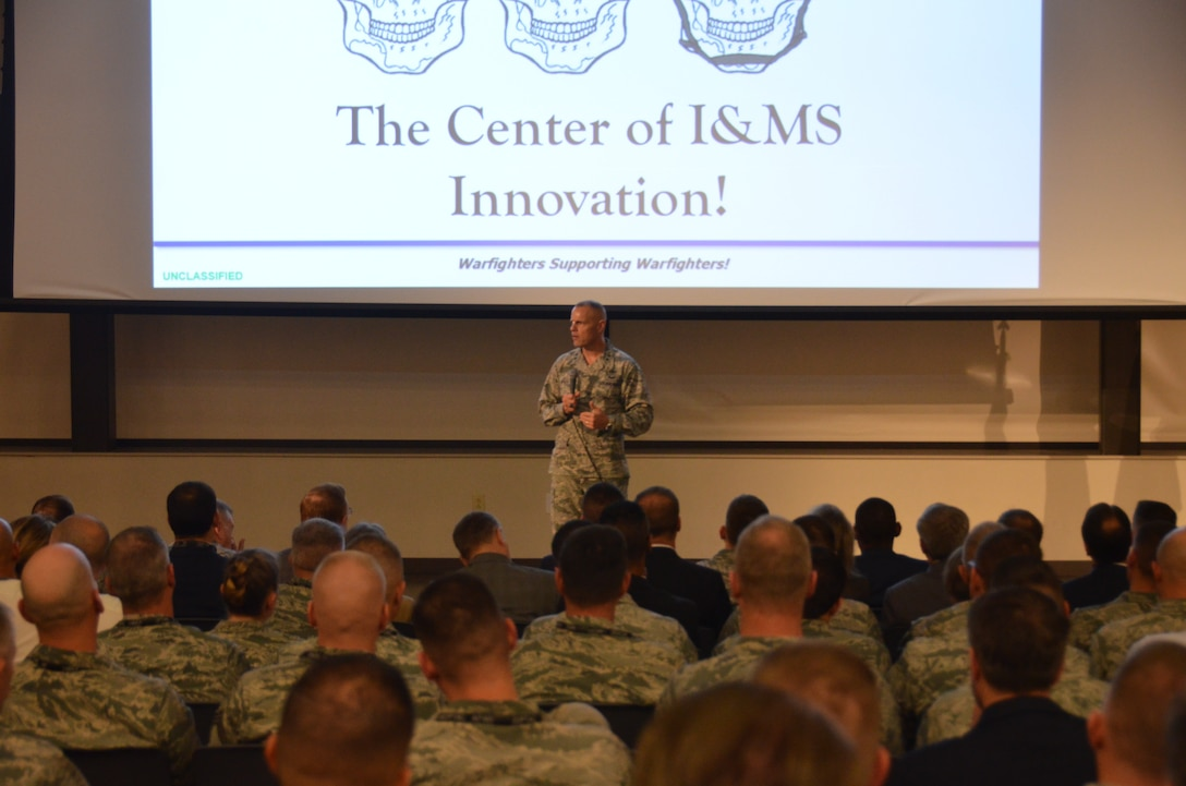 """Air Force Installation and Mission Support Center Commander Maj. Gen. Brad Spacy talks about the importance of the 2018 Installation and Mission Support Weapons and Tactics Conference to senior Air Force leaders and members of the agile combat support community. """"What's great about this event is that it's a forum for innovation,"""" Spacy said May 16 in San Antonio. """"Our goal is to get ideas from our Airmen into action. We know the ideas are out there – our Airmen are coming up with them."""" (U.S. Air Force photo by Armando Perez)"""