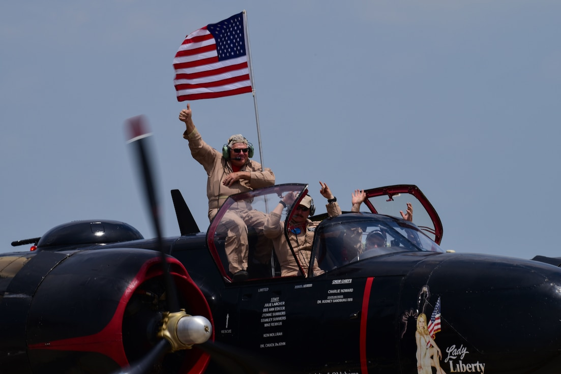 "A performer at Laughlin's Open House and Air Show, ""Fiesta of Flight,"" gives a thumbs-up the crowd as he taxis down the runway May 12, 2018. The airshow was visited by flyovers, performers and static displays from numerous bases. (U.S. Air Force photo by Airman 1st Class Marco A. Gomez)"