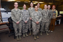 The women of the InSight launch team pose for a group photo after the successful launch of the InSight mission on May 5, 2018, Vandenberg Air Force Base, Calif. From prelaunch planning to the launch window of the InSight mission, a majority of the key players and leadership roles were filled by the women of Vandenberg. (U.S. Air Force photo by Tech. Sgt. Jim Araos/Released)