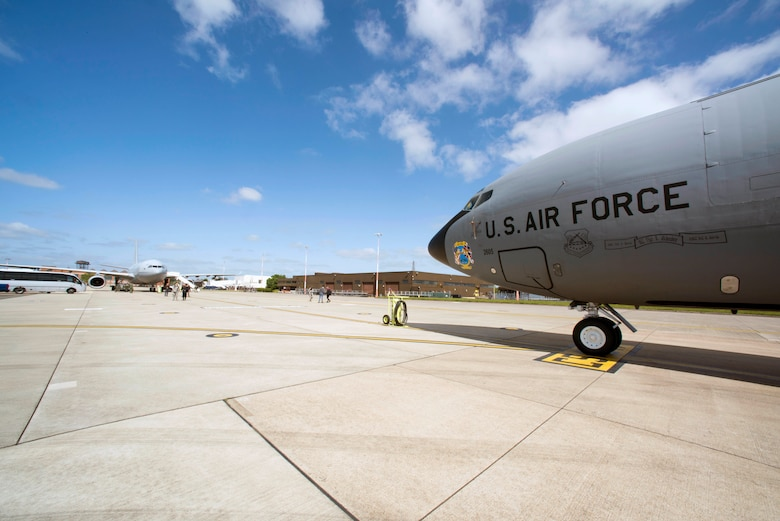 A U.S. Air Force KC-135 Stratotanker and Royal Air Force Voyager stand on the flightline at RAF Mildenhall, England, May 17, 2018. The 100th Air Refueling Wing hosted the 5th annual European Tanker Symposium, where 13 countries came together and trained to establish mixed-flight formation air-refueling standardized procedures. (U.S. Air Force photo by Senior Airman Christine Groening)
