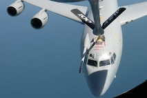 A U.S. Air Force KC-135 Stratotanker refuels a Royal Air Force E-3D over the North Sea May 17, 2018. The KC-135 participated in a training flight over the North Sea as part of the 5th annual European Tanker Symposium. (U.S. Air Force photo by Tech. Sgt. David Dobrydney)