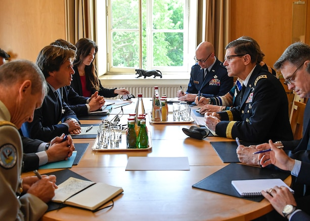 U.S. Army Gen Joseph L. Votel, commander, U.S. Central Command, meets with members of the French Ministry of Foreign and European Affairs May 17, 2018. Votel was in France to meet with senior leaders to discuss topics of mutual interest. (U.S. Air Force photo by Tech Sgt. Dana Flamer/Released)