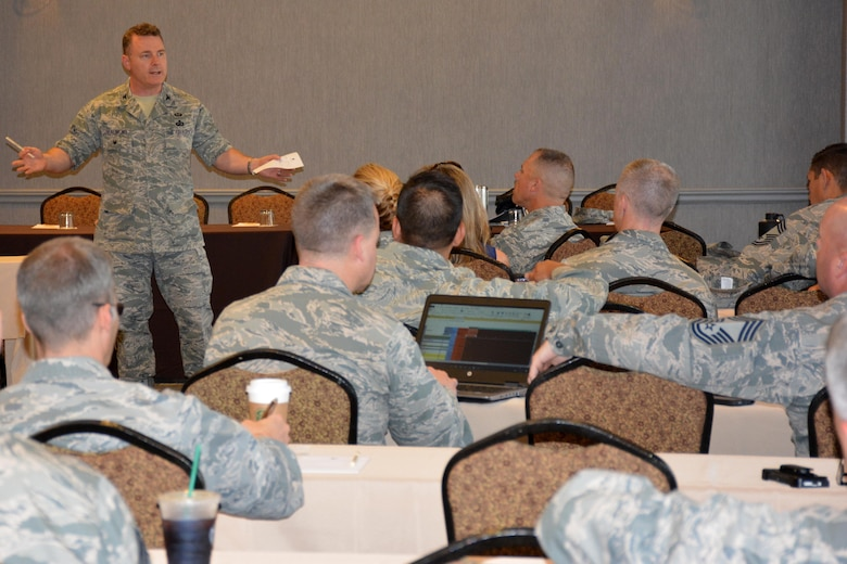 Col. Burke Beaumont talks with Air Force mission support group commanders and superintendents during a resource management panel discussion at the Air Force Installation and Mission Support Center Mission Support Leadership Summit May 16 in San Antonio.