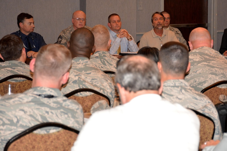 An Air Force Installation and Mission Support Center team leads a discussion about expeditionary support during the AFIMSC Mission Support Leadership Summit May 16 in San Antonio.