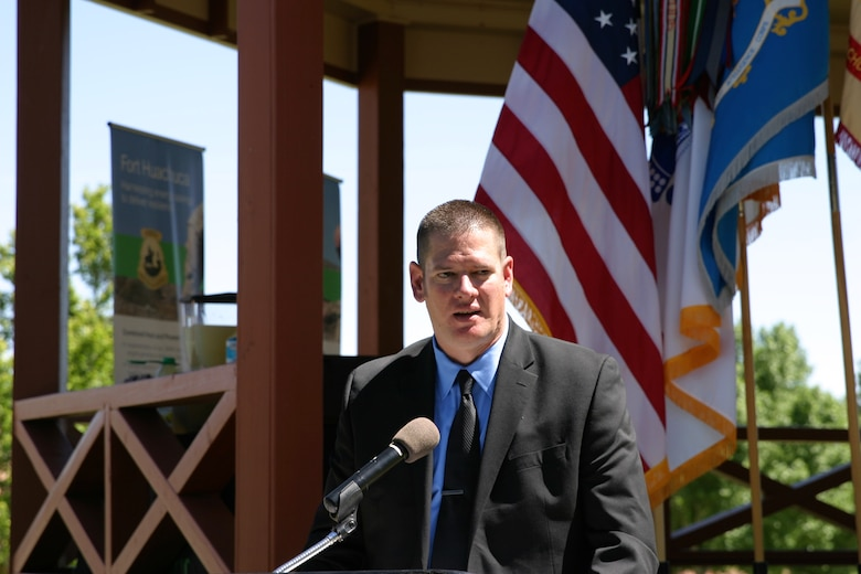 Jack Porter, chief of the Business Operations and Integration Division for the Fort Huachuca Directorate of Public Works, speaks to leaders and community members of Fort Huachuca, Arizona, during a public unveiling of a multimillion-dollar energy-savings infrastructure project awarded through a Huntsville Center Energy Savings Performance Contracting task order award.