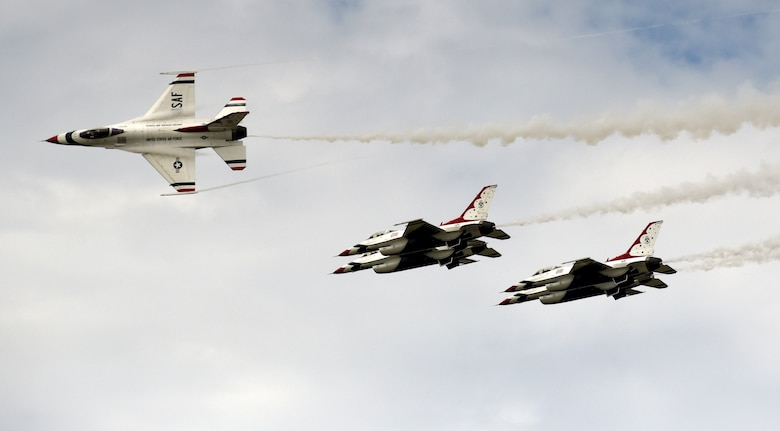 The U.S. Air Force Thunderbirds arrive at Joint Base Langley-Eustis, Virginia, May 15, 2018. The Thunderbirds are scheduled to resume their 2018 air show season during the Airpower Over Hampton Roads JBLE Air and Space Expo, May 19 - 20. (U.S. Air Force photo by Staff Sgt. Areca T. Bell)