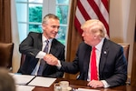 President Donald J. Trump and NATO Secretary General Jens Stoltenberg discuss alliance issues at the White House.