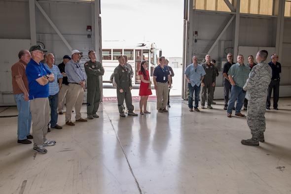 Edwards honorary commanders visited Hanger 1600 where a presentation was given about load crews by Senior Master Sgt. Joseph Armijo, 412th Aircraft Maintenance Squadron Wing Weapons manager. (U.S. Air Force photo by Matt Williams)
