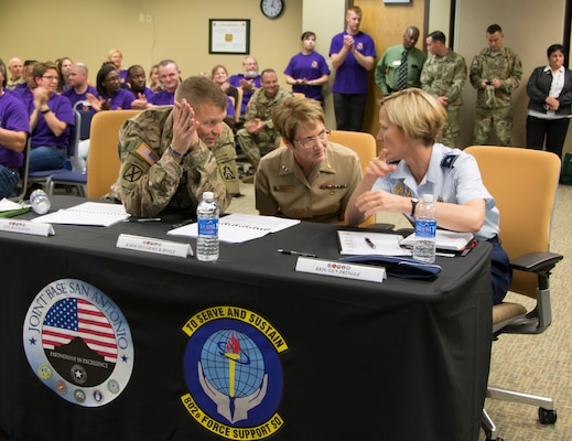 (From left) The local senior leadership panel of Army Lt. Gen. Jeffrey S. Buchanan, U.S. Army North commanding general and Senior Army Commander of Joint Base San Antonio-Fort Sam Houston and JBSA-Camp Bullis; Navy Rear Adm. Rebecca McCormick-Boyle, commander, Navy Medicine Education and Training Command; and Air Force Brig. Gen. Heather L. Pringle, commander, 502nd Air Base Wing and Joint Base San Antonio, discuss the issues presented amongst each other Nov. 3, 2016.