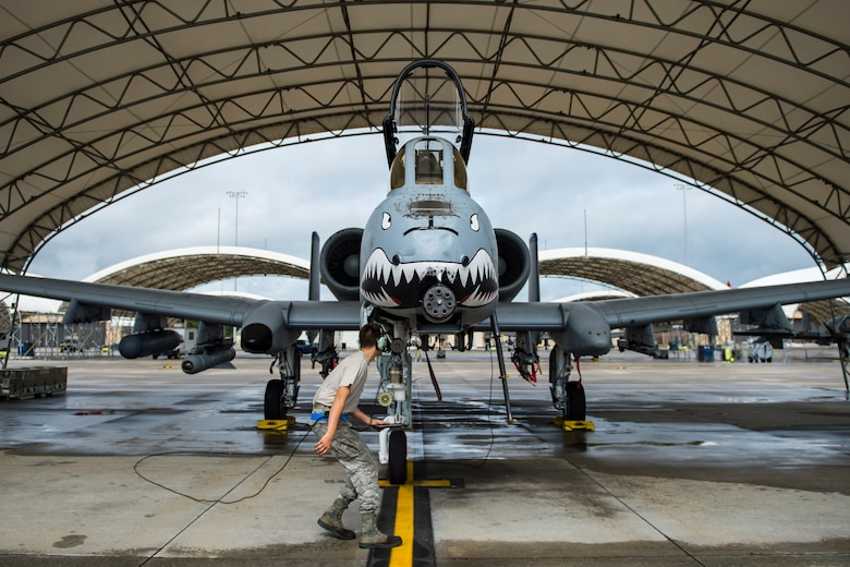Airman 1st Class Jacob Curry, 23d Aircraft Maintenance Squadron crew chief, performs a preflight systems check prior to launching an A-10C Thunderbolt II, May 17, 2018, at Moody Air Force Base, Ga. Airmen conduct routine training missions in the airspace surrounding Moody to remain current on their tactics and procedures. While helping pilots remain proficient, training also gives crew chiefs and maintainers the opportunity to remain proficient at launching and maintaining the aircraft. (U.S. Air Force photo by Senior Airman Janiqua P. Robinson)