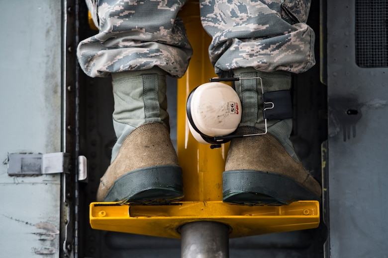Airman 1st Class Jacob Curry, 23d Aircraft Maintenance Squadron crew chief, stands on a ladder attached to an A-10C Thunderbolt II prior to launching the aircraft, May 17, 2018, at Moody Air Force Base, Ga. Airmen conduct routine training missions in the airspace surrounding Moody to remain current on their tactics and procedures. While helping pilots remain proficient, training also gives crew chiefs and maintainers the opportunity to remain proficient at launching and maintaining the aircraft. (U.S. Air Force photo by Senior Airman Janiqua P. Robinson)