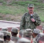 Rear Adm. John Ring, Joint Task Force Guantanamo Commander, speaks to JTF Troopers during an All Hands meeting at the Camp Bulkeley Lyceum on May 17.