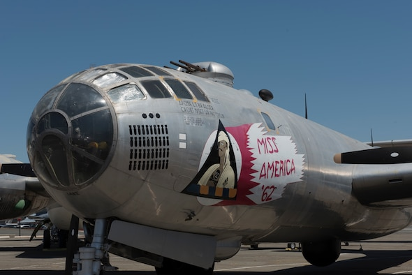 A B-29 Superfortress awaits visitors outside the Heritage Center at Travis Air Force Base, Calif., May 17, 2018. The aircraft, which was affixed with 12 .50 caliber machine guns, could carry 20,000 pounds of bombs. It flew with the 301st Bomb Group of Strategic Air Command and was assigned to Travis from 1943 – 1945. The base is celebrating its 75th anniversary all year and people can learn about much of the base's history by visiting the Heritage Center. (U.S. Air Force photo by Tech. Sgt. James Hodgman)