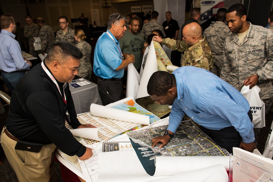 Team Shaw members network during a technology exposition at Shaw Air Force Base, S.C., May 16, 2018.