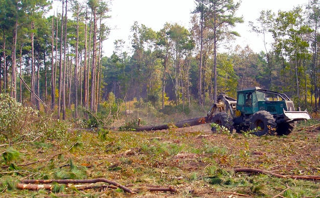 A skidder drags logs in a final harvest area at Arnold Air Force Base. Logging at Arnold is part of the Base Forest Management Program for Air Force land use, which are sustainable mission support and stewardship. (U.S. Air Force photo)