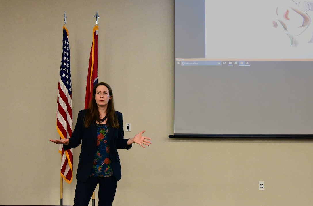 Laura Schmutzer, a registered dietician, gives a presentation to members of the 118th Wing on a healthy diet on May 5, 2018 at Berry Field Air National Guard Base, Nashville, Tennessee. Schmutzer's main goal of the presentation was to encourage Airmen to set healthy goals and habits to prevent chronic diseases. (U.S. Air National Guard photo by Senior Airman Anthony Agosti)