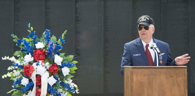 Retired Air Force Capt. Johnny Blye speaks at The Wall That Heals in Camden, S.C., May 5, 2018.
