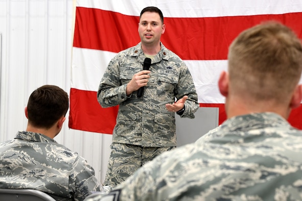 Maj. Wade Smith speaks to attendees of the 94th Aircraft Maintenance Squadron assumption-of-command ceremony held at Dobbins Air Reserve Base, Ga. on May 5, 2018. Smith assumed command of the squadron after serving as the operations officer for the 94th Maintenance Squadron. (U.S. Air Force photo/Senior Airman Josh Kincaid)