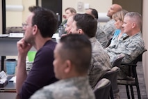 Air Force District of Washington Commander Maj. Gen. James A. Jacobson addresses 16 of the Air Force's emerging leaders at the 2018 Squadron Commanders Course.