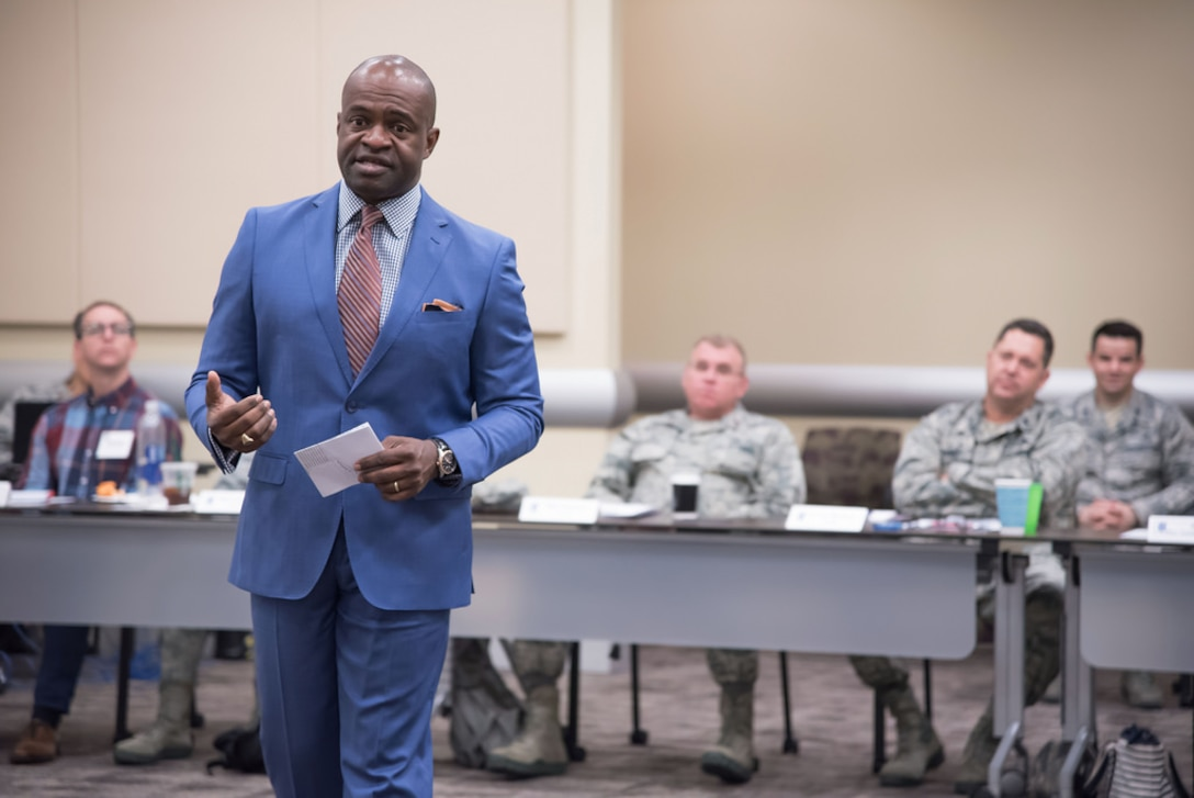 DeMaurice Smith addresses 16 of the Air Force's emerging leaders at the 2018 Squadron Commanders Course here at Joint Base Andrews, Md.