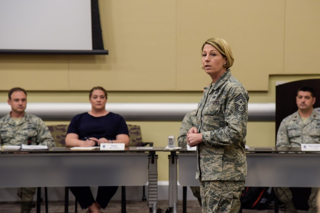 Air Force District of Washington Command Chief Master Sgt. Melanie K. Noel discusses the value of courageous leadership in remarks during the 2018 AFDW Squadron Commanders Course in the Gen. Jacob E. Smart Conference Center here May 18.