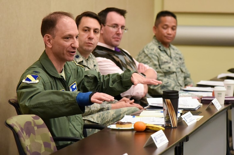 Air Force District of Washington Vice Commander Col. Kevin Eastland shares leadership insight with 16 of the Air Force's emerging leaders and their spouses during the 2018 AFDW Squadron Commanders Course at the Gen. Jacob E. Smart Conference Center here May14.