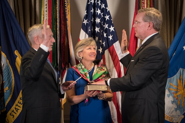 Defense Secretary James N. Mattis, left, swore in John H. Gibson II as chief management officer for the Defense Department at the Pentagon, May 18, 2018. The CMO is responsible for improving the efficiency and effectiveness of DoD's business operations. DoD photo by Tech Sgt. Vernon Young Jr.