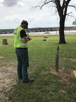 Michael Tate writes down Geographic Information System data for real property at John Redmond Lake in Burlington, Kansas. Tate shadowed the John Redmond Project Office staff from August 2017 to May 2018.