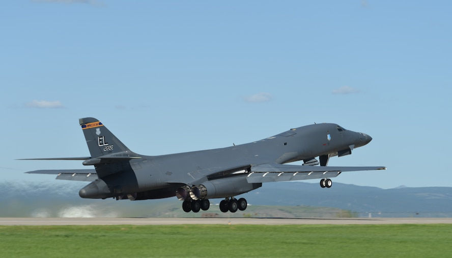 A B-1 bomber takes off to participate in Combat Raider 18-2 at Ellsworth Air Force Base, S.D., May 14, 2018. Combat Raider is a joint exercise that involves multiple airframes from different bases to prepare Airmen and the Air Force for potential future conflicts. (U.S. Air Force photo by Airman 1st Class Thomas Karol)