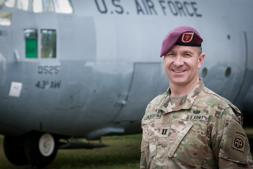 Army Capt. Jacques Albertyn, chaplain for the 307th Airborne Engineer Battalion, 3rd Brigade Combat Team, 82nd Airborne Division, poses for a photo at Fort Bragg, N.C.
