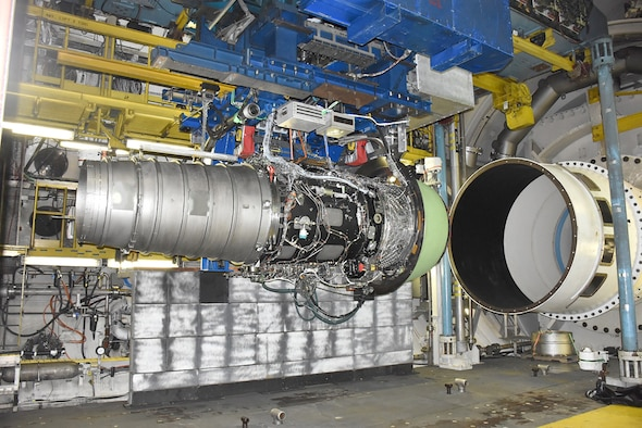 The Rolls-Royce engine is set up here in free-jet mode inside the AEDC C-2 test cell at Arnold Air Force Base. Transonic speeds with large volumetric flow rates were recently achieved during free-jet testing of this high-bypass engine, setting a record for free-jet mode engine testing. (U.S. Air Force photo)