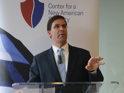Secretary of the Army Dr. Mark T. Esper, speaks at the Center for a New American Security in Washington, D.C., May 16, 2018.