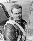 Col Phil Cochran aboard his P-51.