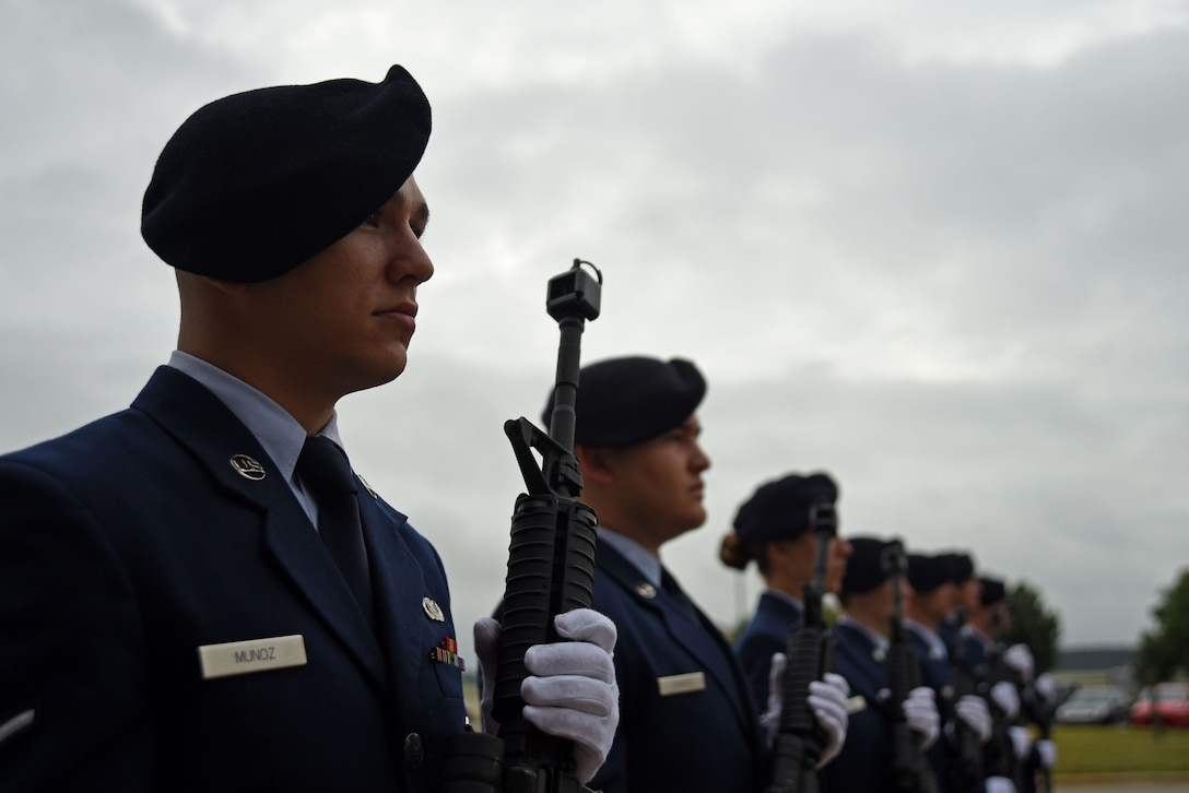 U.S. Airmen assigned to the 20th Security Forces Squadron stand in formation during a National Police Week closing ceremony at Shaw Air Force Base, S.C., May 18, 2018.
