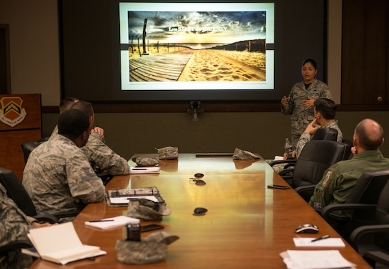 First Lt. Mariana Tamariz, 56th Fighter Wing executive officer, conducts a briefing during the Bold Operational Leadership Team class at Luke Air Force Base, Ariz., May 18, 2018. Tamariz received the Profession of Arms Center of Excellence Leadership Impact Award for her contributions in shaping the Air Force culture by impacting Airmen's professional growth and development within the 56th FW. (U.S. Air Force photo by Airman 1st Class Alexander Cook)