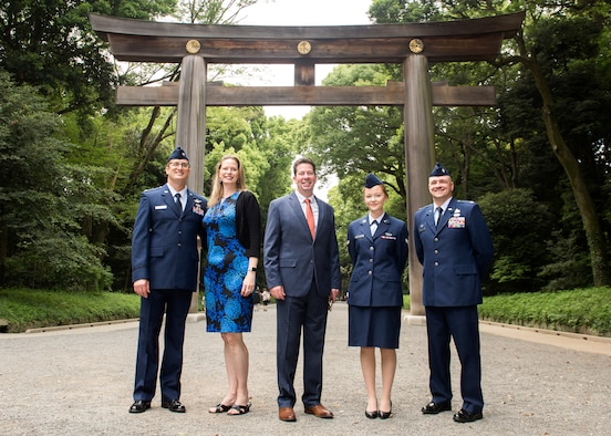 Yokota Air Base leadership and Good Deed Award winners pose for a photo