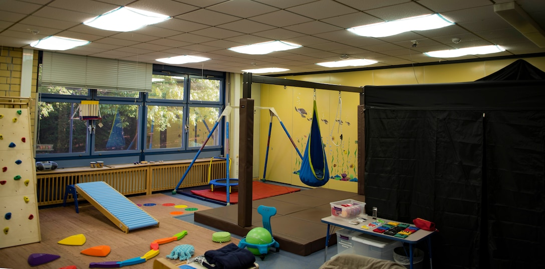 The finished sensory room on Vogelweh Elementary School on Vogelweh Military Complex, May 15, 2018. A sensory room assists with processing sensory information in children that have learning disabilities because it is a specially designed room which combines a range of stimuli to help individuals develop and engage their senses. With the completion of the sensory room, Roscoe waits for the National Advancement Team to review and verify his Eagle Scout packet before he pins on the rank of Eagle Scout.