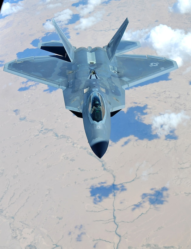 A F-22 Raptor assigned to the 94th Fighter Squadron at the 380th Air Expeditionary Wing, Al Dhafra Air Base, supports Operation Inherent Resolve over the skies of Southwest Asia, May 16, 2018. The Raptor's mission is to help ensure that the operations of U.S. and coalition forces on the ground and in the air are unimpeded by adversary aircraft.