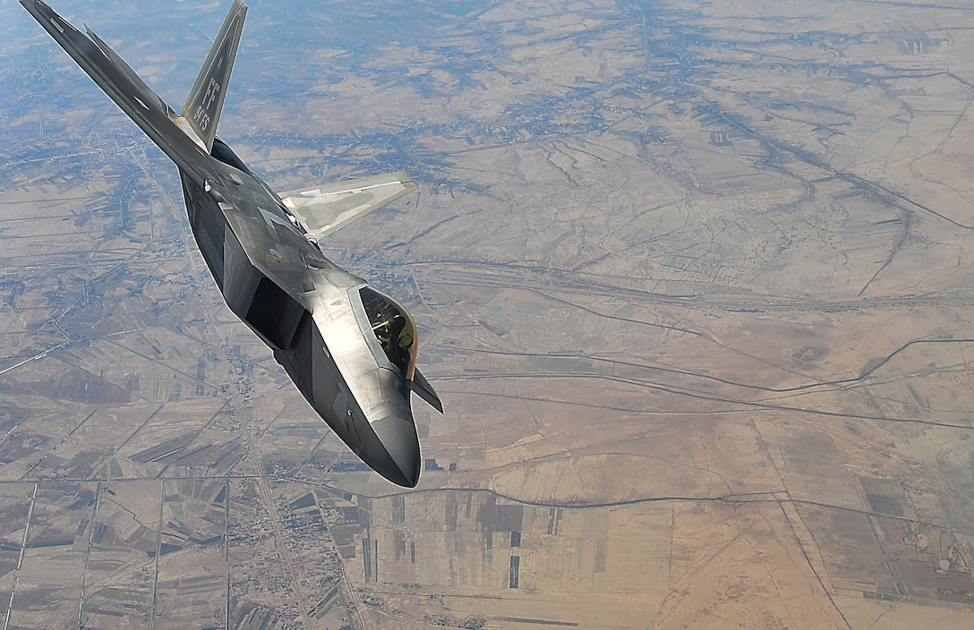 A F-22 Raptor assigned to the 94th Fighter Squadron at the 380th Air Expeditionary Wing, Al Dhafra Air Base, supports Operation Inherent Resolve over the skies of Southwest Asia.